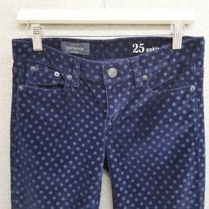 NWOT J Crew Toothpick Ankle Velvet Dot jeans